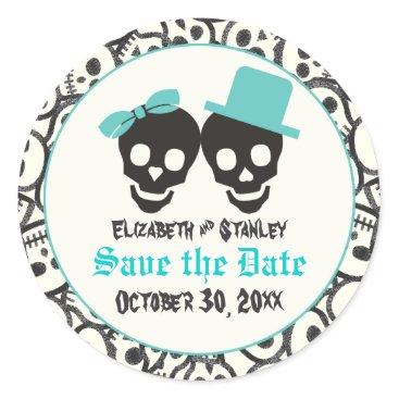 Halloween Themed Skulls Halloween Turquoise wedding Save the Date Classic Round Sticker