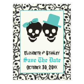 Skulls Halloween Turquoise wedding Save the Date Postcard