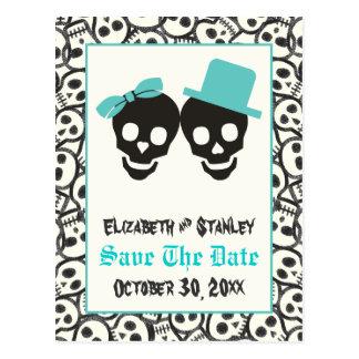 Skulls Halloween Turquoise wedding Save the Date Postcard
