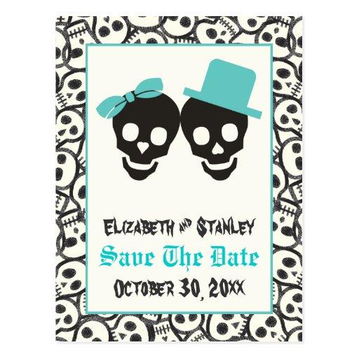 Skulls Halloween Turquoise wedding Save the Date Post Card