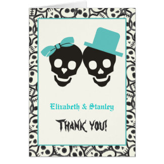 Skulls Halloween turquoise wedding Thank You Card