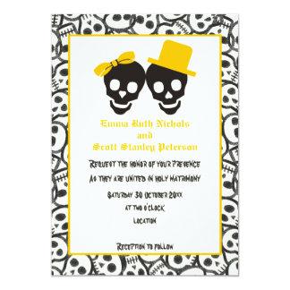 Skulls Halloween yellow black wedding invitation