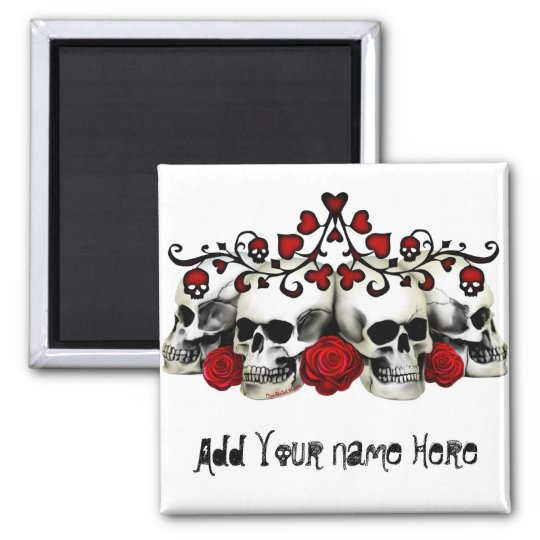 Skulls, Hearts And Roses 2 Inch Square Magnet