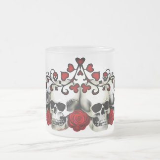 Skulls, Hearts And Roses Frosted Glass Coffee Mug