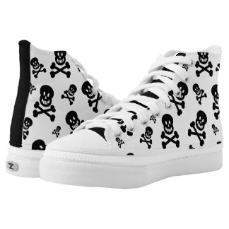 Skulls in Black and White High-Top Sneakers