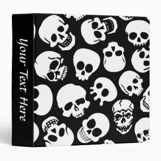 Skulls in Black Background Pattern Binder