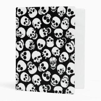 Skulls in Black Background Pattern Mini Binder