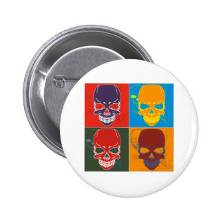 Skulls in Color Pinback Buttons