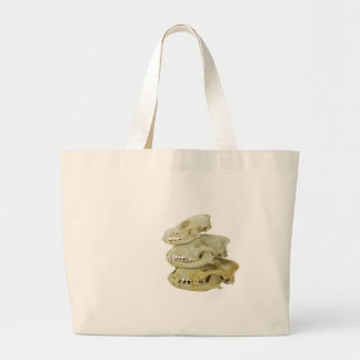 Skulls of fox and dogs on top of each other large tote bag