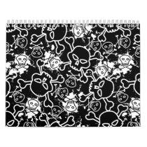 Skulls on black seamless pattern.ai calendar