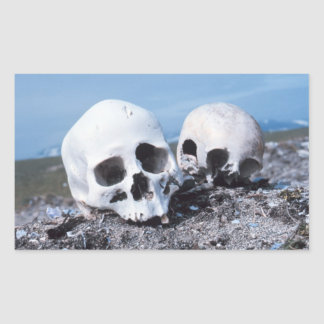 Skulls on the Beach Rectangular Sticker