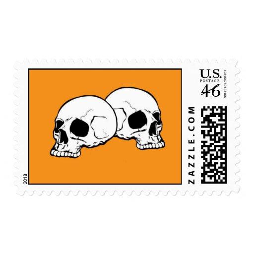 Skulls (Orange) Postage Stamp
