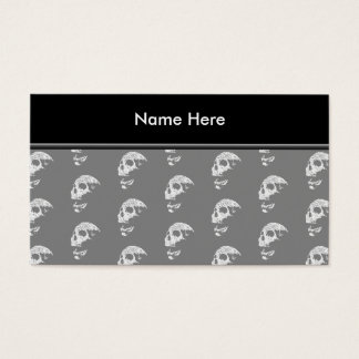 Skulls Pattern in Gray and White. Business Card