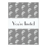 """Skulls Pattern in Gray and White. 5"""" X 7"""" Invitation Card"""
