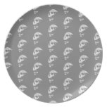 Skulls Pattern in Gray and White. Plates
