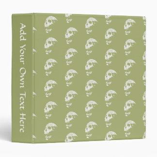 Skulls Pattern in Khaki Green and White. Binder