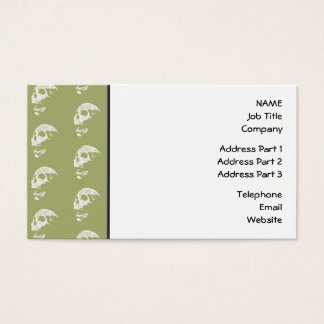 Skulls Pattern in Khaki Green and White. Business Card