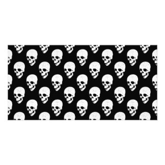 Skulls pattern photo card