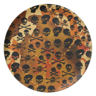 Skulls pattern pirate plate