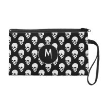 Skulls pattern wristlet purse