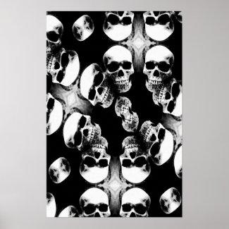 Skulls Poster - Black & White Fantasy Art Metal