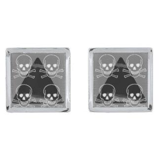 skulls pyramid silver cufflinks