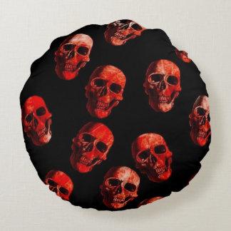 skulls red 3 round pillow