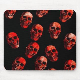 skulls, red black mouse pad