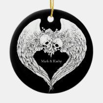 Skulls Roses and Wings Ornament