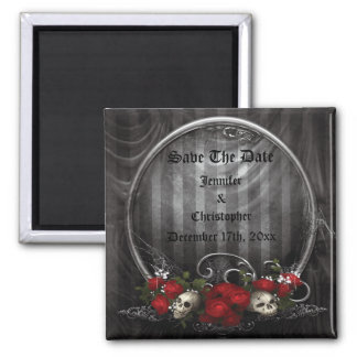 Skulls & Roses Gothic Save The Date Wedding Magnet