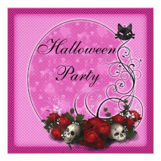 Skulls Roses Pink Halloween Party Invitations