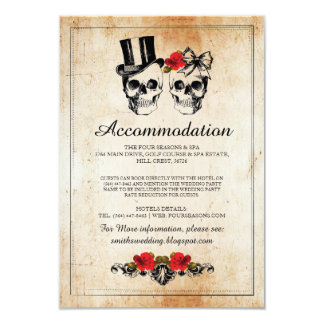 Skulls Roses Rustic Accommodation Wedding Cards
