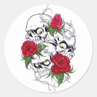 Skulls & Roses Round Sticker