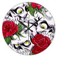 Skulls & Roses Wallclock