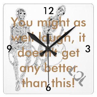 Skulls Skeletons Funny Goth Humor CricketDiane Square Wall Clock