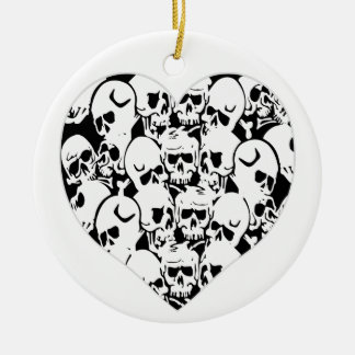 Skulls Skulls and Skulls Black Christmas Ornament
