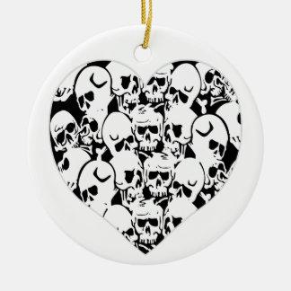 Skulls Skulls and Skulls Black Double-Sided Ceramic Round Christmas Ornament