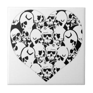 Skulls Skulls and Skulls Black Tile