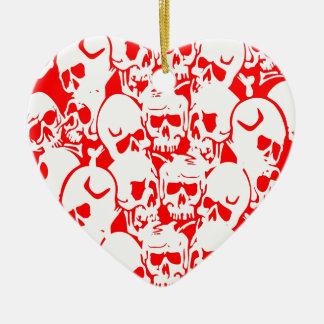 Skulls Skulls and Skulls Red Double-Sided Heart Ceramic Christmas Ornament