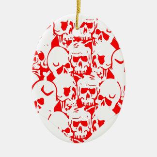 Skulls Skulls and Skulls Red Double-Sided Oval Ceramic Christmas Ornament