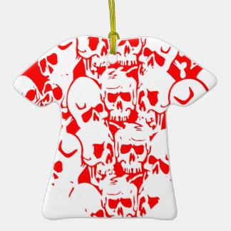 Skulls Skulls and Skulls Red Double-Sided T-Shirt Ceramic Christmas Ornament