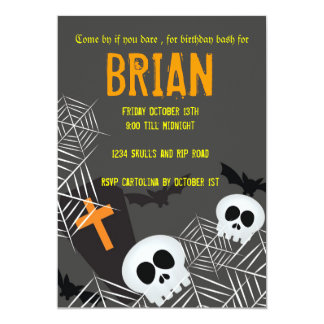 Skulls spider webs and rip hallowen birthday party 5x7 paper invitation card