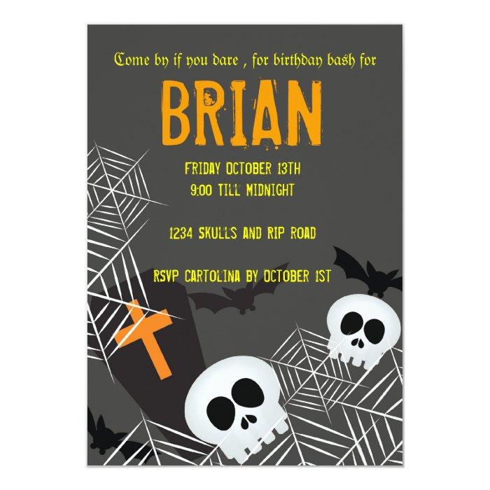 Skulls spider webs and rip hallowen birthday party card