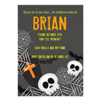 Skulls spider webs and rip hallowen birthday party invite