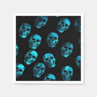 skulls, turquoise disposable napkins