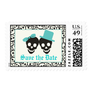 Skulls turquoise Halloween wedding Save the Date Postage