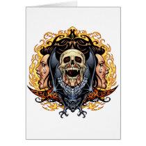 skull, skulls, vampire, vampires, bat, fire, blood, al rio, Card with custom graphic design