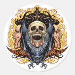 Skulls, Vampires and Bats customizable by Al Rio. Classic Round Sticker