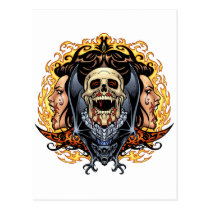 skull, skulls, vampire, vampires, bat, fire, blood, al rio, Cartão postal com design gráfico personalizado
