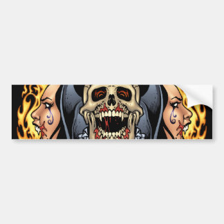 Skulls, Vampires and Bats Gothic Design by Al Rio Car Bumper Sticker